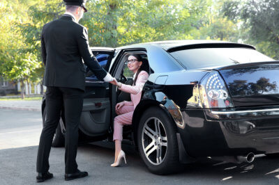 woman with a chauffeur